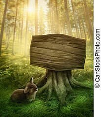 Wooden sign in the forest - Wooden sign in the magic dark ...
