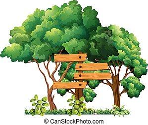 Wooden sign in the garden