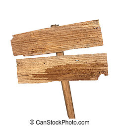 Wooden sign isolated on white background.