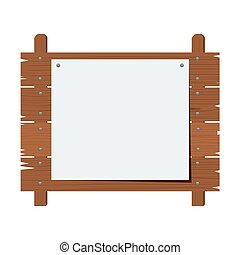 Wooden sign isolated on white background. Vector illustration