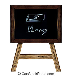 Wooden sign isolated on white. concept money business picture