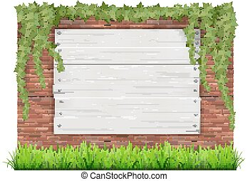 Wooden sign on a old brick wall background with green grass and ivy