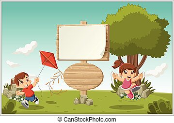 cartoon children playing.