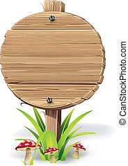 Wooden sign on grass and mushroom.