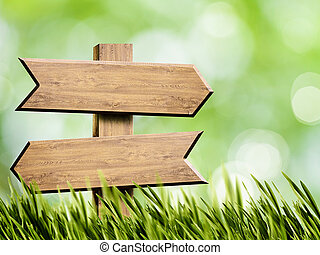 Wooden sign over abstract natural backgrounds