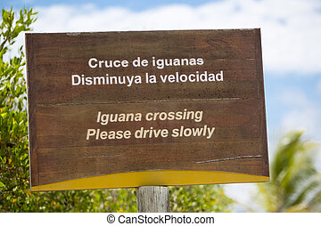 Wooden sign protecting a closed nesting area, Galapagos