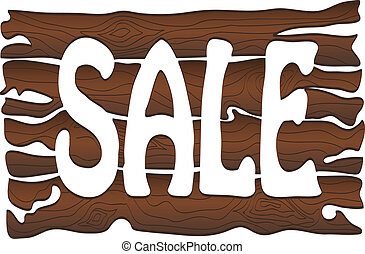 Wooden sign Sale isolated on white. Vector