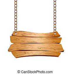 Wooden sign suspended on chains. Vector illustration