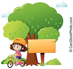 Wooden sign template with girl biking