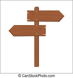 Wooden sign to opposite sides isolated flat color style vector