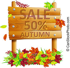 wooden sign with autumn leaves