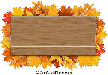 wooden sign with autumn maple tree leaves