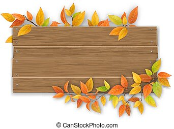 wooden sign with autumn tree branch