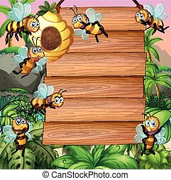Wooden sign with bee flying in garden