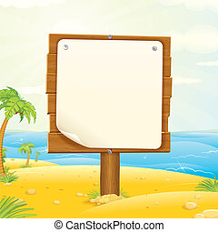Wooden Sign with Blank Paper on the Tropical Beach. Vector...