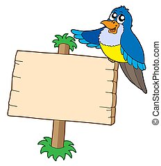 Wooden sign with blue bird - isolated illustration.