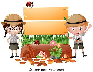 Wooden sign with boy and girl in safari outfit