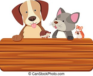 Wooden sign with cat and dog in background