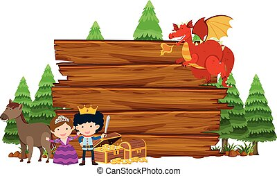 Wooden sign with dragon and princess
