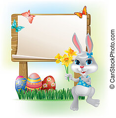 Wooden sign with Easter Bunny