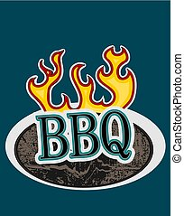 Wooden sign with flames BBQ