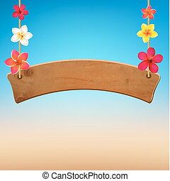 Wooden Sign With Frangipani, With Gradient Mesh, Vector...