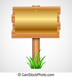 wooden sign with gold paper