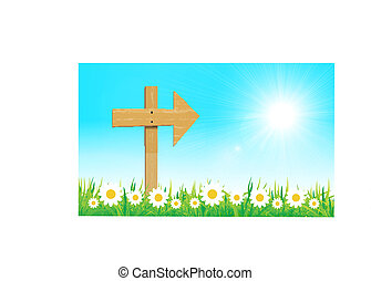 wooden sign with grass vector