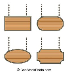 wooden sign with iron frame on the chains. vector