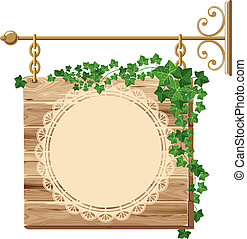 Wooden sign with ivy and space for your text