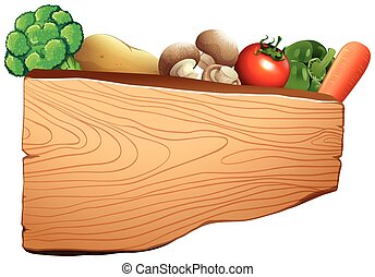 Wooden sign with mixed vegetables