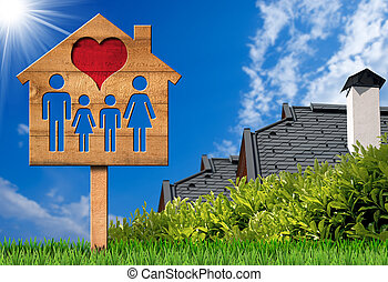 Wooden Sign with Model House Heart and Family