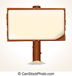 Wooden Sign with Paper Sheet on White Background