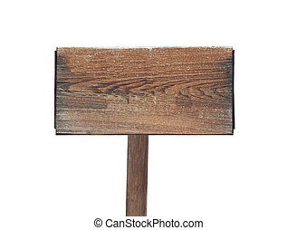 wooden sign with pole