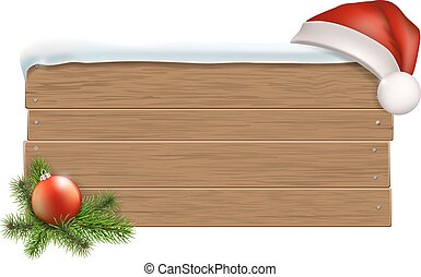 Wooden sign with Santa's hat