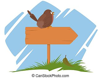 Wooden sign with sitting bird. Funny animal.