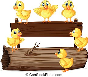 Wooden sign with six chicks