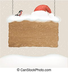 Wooden Sign With Snow And Bird