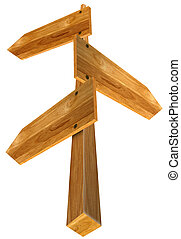 Wooden Sign with three arrows