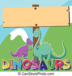 Wooden sign with two dinosaurs