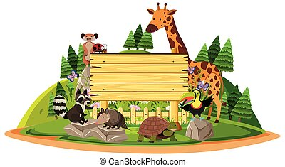 Wooden sign with wild animals