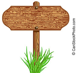 Wooden signboard and grass - Wooden signboard and green ...
