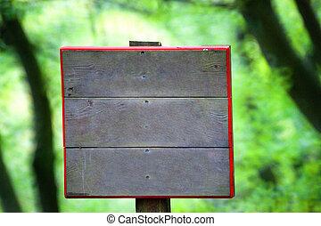 Wooden signboard closeup