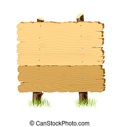 Detailed vector illustration of a wooden signboard