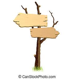 Detailed vector illustration of wooden signboard