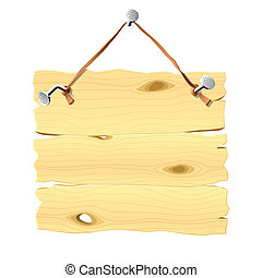 Vector illustration of a wooden signboard hanging on a nail