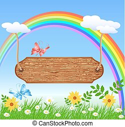 Wooden signboard hanging on rainbow