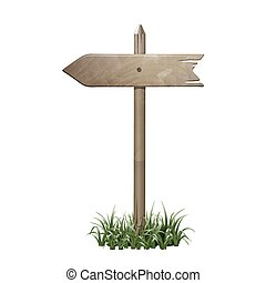 Wooden signboard in a grass.