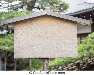 Wooden signboard Japanese style with copy space