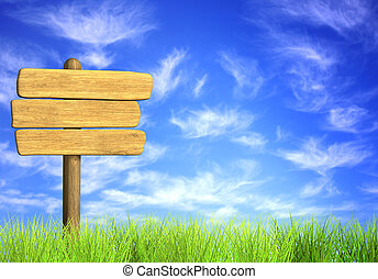 Wooden signboard. Object on blue sky